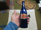 RARE ANTIQUE COBALT BLUE- BAY RUM BARBER SHOP BOTTLE W/LABEL UNDER GLASS C1880S