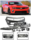 For 10 13 Camaro ZL1 Style Front Bumper Cover Upper Lower Grille W/ Fog Lights