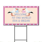 Baby Shower Birth Twins Welcome Stork Custom Plastic Yard Sign FREE Stakes