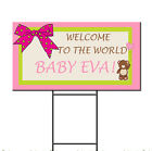 Baby Shower Birth Ribbon Pink Girl Bear Custom Plastic Yard Sign FREE Stakes