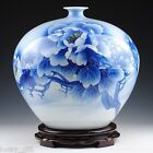 FINE CHINESE BLUE AND WHITE PORCELAIN HAND-PAINTED PEONY FLOWER BOTTLE VASE