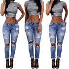 2016 Womens Blue Denim Stretch Jeans Destroy Skinny Ripped Distressed Pants