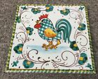 Deruta Pottery-6x6inch Tile With Rooster.Made/Painted by hand in Italy