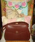 VTG UNUSED 1940's DISTRESSED LEATHER HANDBAG PURSE SATCHEL ORGANIZER SECTION BAG