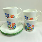 Corning Corelle Fresh Cut Tulips Set of 4 Mugs and 4 Saucers
