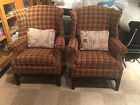 Matching Pair of Classic Vintage Chippindale style Ethan Allen Wing Back Chairs