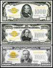 AMAZING $1000, $10,000, $100,000 Gold Certificates 1934 Bank Note Copy