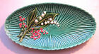 German Majolica oval dish Schramberg: lilies and forget-me not