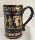 Neofitou Hand Made in Greece Black/Blue Mug Cup Handle 24k Gold Signed