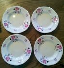 Set of 4 RARE Chodziez Wide rim Soup Bowls Large Pink Rose pattern