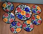 Vintage SMF Hand painted Schramberg Germany 7 pc Cake Plate Set Large Floral