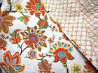 Jacobean Floral Orange Aqua Red Yellow Green Reversible Mini Print King Quilt
