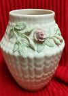 BELLEEK APPLIED PINK ROSE OFF WHITE Vintage Porcelain Vase  Circa 1955 - 1965