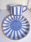 French blue and white ceramic CUP on SAUCER, Sarreguemines: model Fox Trott