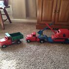 Tonka Toys Flatbed Truck With Crane  And Dump truck ORIGINAL VINTAGE