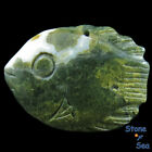 Hand Carved Fish  Natural Ocean Jasper Pendant DK04753