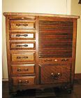 Antique Harvard OAK DENTAL CABINET w/ tambour door - bottom section
