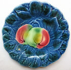 Old French Majolica blue Plate signed Sarreguemines: Apples on blue leaves