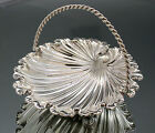 Antique Sheffield silver plate small fluted shell serving dish swing handle