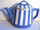 French blue and white ceramic Large Teapot signed Sarreguemines model Fox Trott