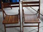 TWO Vintage Mid Century Wooden Wood Slatted Folding Chairs Made In Romania