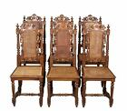Set of Six Antique Carved French Cane Back Seat Dining Room or Kitchen Chairs