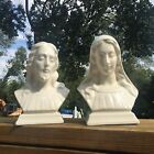 VINTAGE PAIR HOLLAND MOLD JESUS AND MARY WHITE PORCELAIN BUSTS