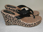 385 Fifth Leo Cork Wedge Thong Sandals NEW Size 10