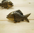 SET OF 2 pairs 4 PCS ANTIQUE SMALL MOUTH BASS FISH Cabinet BRASS Pull KNOB