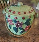 Antique ~ Hand Painted Biscuit Jar With Wicker Handle ~ Marked Made In Japan