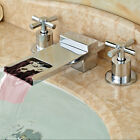 Chrome Polished Waterfall Bathroom Sink Faucet Basin Mixer Tap With LED Lights