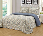 3Pc King Queen Size Floral Printed Quilts Bedspread Bedding Set Yellow Gray JONI