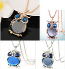 Vintage women ladies long diamond owl sweater crystal chain necklace crystal