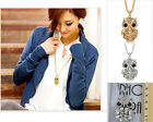 Vintage women long diamond owl sweater crystal chain necklace ladies chain