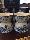 222 Fifth Adelaide Blue Cereal Soup Bowls Set Of 4 Birds Flowers New Free Ship