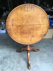 Antique American Ribbon / Tiger Maple Tilt Top Tea Table w/ Birdcage