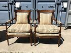 BEAUTIFUL PAIR FRENCH LOUIS XVI ARM CHAIRS NEUTRAL UPHOLSTRY CANE BACK CLEAN