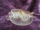 Jeannette National Glass Hobnail with Gold Trim Sugar, Creamer and Tray