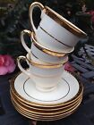 6 SAUCERS 22k Gold Trim USA MINT