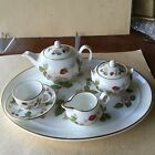 Wedgwood Wild Strawberry Bone China 8pc Mini / Miniature Child's Tea Set