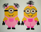 Minions Girls kathy and Lola Paper Die Cut Paper Piecing Scrapbook Embellishment