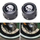2PCS Black Skull Front Axle Nut Cover Bolt For Harley Touring Softail FLHT FLHR