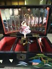 Antique Mid Century  Music Box with Ballerina and Mother of Pearl Inlay