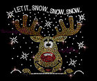Hot fix Christmas Rhinestone Iron on Transfer Rudolph the Red Nosed Reindeer
