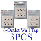 LOT of 3 Grounded Wall Tap 6 Outlet AC Power Adapter Electrical Plug UL LISTED