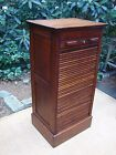 Antique 1800s Oak File Cabinet w Slide Down Tambour Door + Good Original Finish