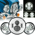 7'' LED Chrome Projector Daymaker Headlight + Passing Lights For Harley Softail