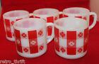 Set of 5 Federal Milk Glass White Red Gingham Check Coffee Tea Mug Cups Flower