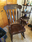 LARGE SOLID WOOD ANTIQUE ROCKING CHAIR LOOKS GREAT!