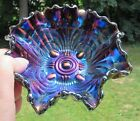 Imperial Carnival Glass Amethyst Scroll Embossed Candy/Nut Bowl File Exterior